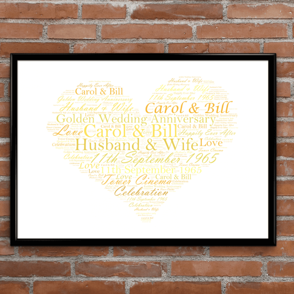 Wedding Gift Word Art : word art prints golden wedding 50th anniversary word art gift